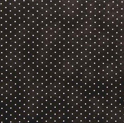 Tecido Tricoline Poeirinha e Poá Branco - Fundo Preto - Preço de 50 cm X 146 9564ca5d9f2