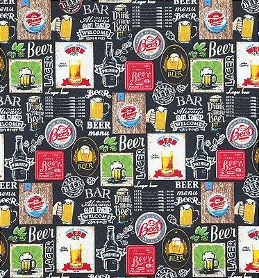 Tecido Tricoline com Estampa de Cerveja - Fundo Preto - Preço de 50 cm X 150 cm