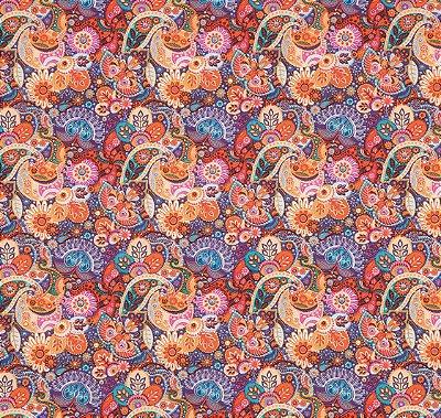 Tecido Tricoline com Estampa Floral e Cashmere Colorido - Preço de 50 cm X 150 cm