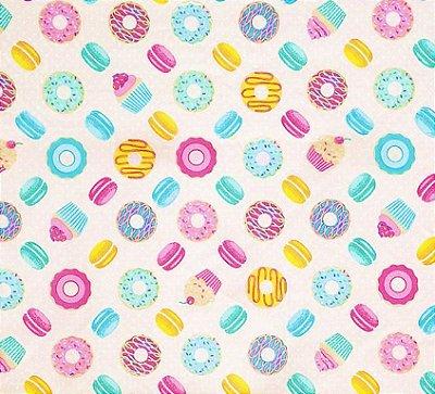 Tecido Tricoline com Estampa de Donuts e Cupcake - Fundo Rosa - Preço de 50 cm X 150 cm