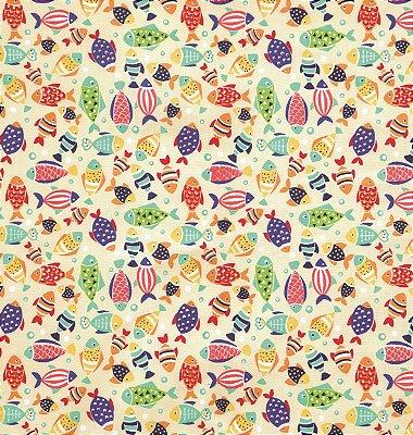 Tecido Tricoline com Estampa de Peixes Coloridos - Fundo Creme - Preço de 50 cm X 150 cm