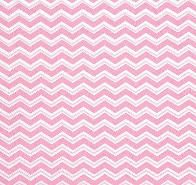 Tecido Tricoline com Estampa Chevron Rosa e Branco - Preço de 50 cm X 150 cm