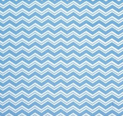 Tecido Tricoline com Estampa Chevron Azul e Branco - Preço de 50 cm X 150 cm