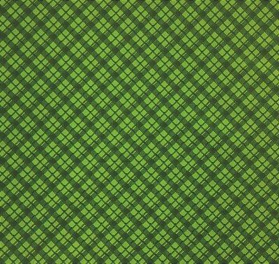 Tecido Tricoline com Estampa Xadrez - Tons de Verde - Preço de 50 cm X 150 cm