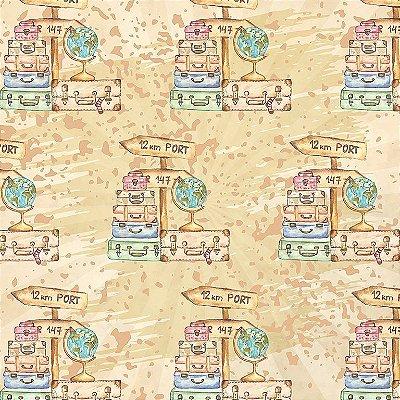 Tecido Estampa Digital - Malas de Viagem e Globo Terrestre - Fundo Cru - Preço de 50 cm x 140 cm