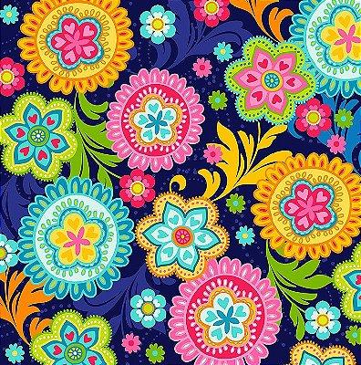 Tecido Estampa Digital - Mandala Color - Fundo Azul Marinho - Preço de 50 cm x 140 cm