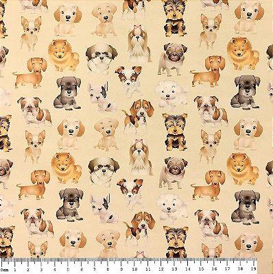 Tecido Estampa Digital - Cachorros Filhotes - Fundo Creme - Preço de 50 cm x 140 cm