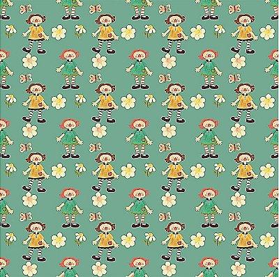 Tecido Estampa Digital -  Annie Pequena - Fundo Verde - Preço de 50 cm x 140 cm