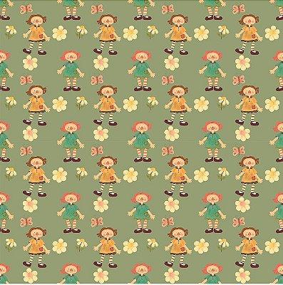 Tecido Estampa Digital -  Annie Grande - Fundo Verde - Preço de 50 cm x 140 cm