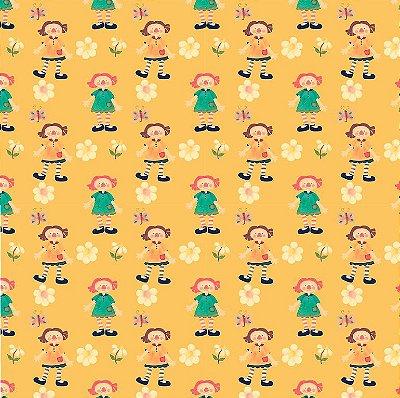 Tecido Estampa Digital -  Annie Grande - Fundo Amarelo - Preço de 50 cm x 140 cm