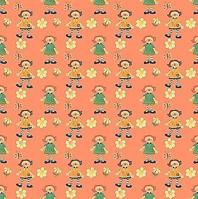 Tecido Estampa Digital - Annie Pequena - Fundo Laranja - Preço de 50 cm x 140 cm
