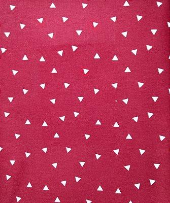 Tecido Tricoline Mini Triângulo Bege (Fundo Vermelho) - Preço de 50 cm X 150 cm