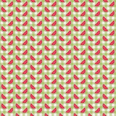 Tecido Tricoline Estampado Fatias de Melancia no Xadrez Verde - Coleção Melan & Cia - Preço de 45cm x 150cm