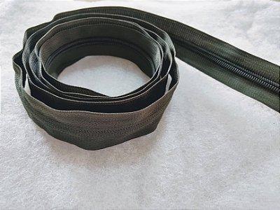 Zíper Grosso nº 5 (3 cm) - Verde Musgo - Preço de 50cm