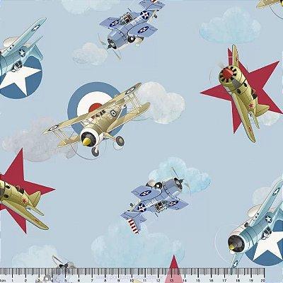 Tecido Digital Aviões - Fundo Azul - Preço de 50cm x 150cm