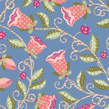 Tecido Tricoline Floral - Fundo Azul - Coleção Arabesque - Preço de 50 cm x 150 cm
