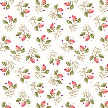 Tecido Tricoline Mini Floral - Fundo Creme - Coleção Arabesque - Preço de 50 cm x 150 cm