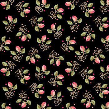 Tecido Tricoline Mini Floral - Fundo Preto - Coleção Arabesque - Preço de 50 cm x 150 cm