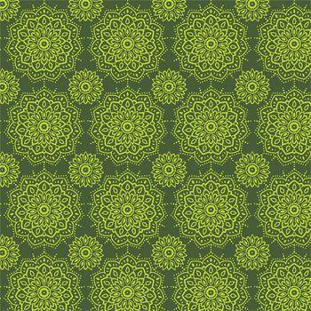 Tecido Tricoline Estampa Mandalas - Tons de Verde - Coleção Namastê - Preço de 50 cm X 150 cm