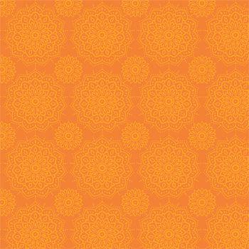 Tecido Tricoline Estampa Mandalas - Tons de Laranja - Coleção Namastê - Preço de 50 cm X 150 cm