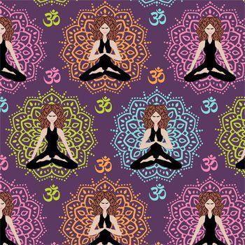 Tecido Tricoline Estampa Ioga e Meditação - Fundo Violeta - Coleção Namastê - Preço de 50 cm X 150 cm