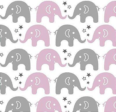Tecido Tricoline Estampa de Elefante Cinza e Rosa - Preço de 50 cm X 150 cm