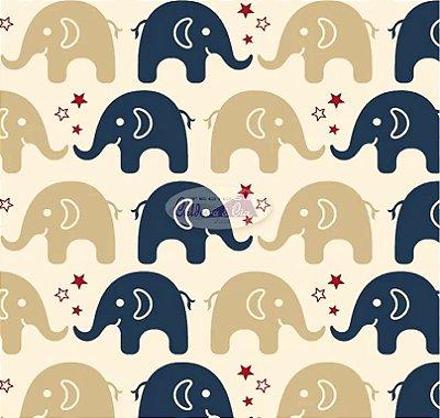 Tecido Tricoline Estampa de Elefante Marinho e Bege - Preço de 50 cm X 150 cm