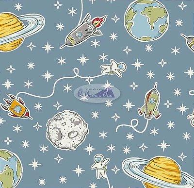 Tecido Tricoline Estampa do Espaço, Foguete e Planeta (Fundo Jade) - Preço de 50 cm X 150 cm
