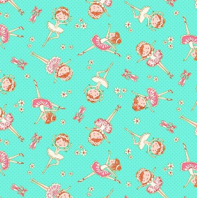 Tecido Tricoline Estampa de Mini Bailarina (Fundo Tiffany e Rosa) - Preço de 50 cm X 150 cm