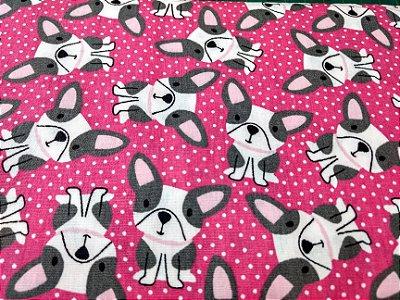 Tecido Tricoline com Estampa de Cachorros - Fundo Rosa Pink - Preço de 50 cm X 150 cm