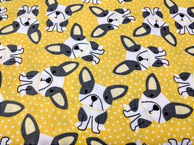 Tecido Tricoline com Estampa de Cachorros - Fundo Amarelo - Preço de 50 cm X 150 cm