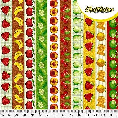 Tecido Tricoline Estampa de Barrados de Morango, Banana, Maçã, Limão, Pêssego, Cereja, Pêra e Laranja - Preço de 50 cm X 150 cm