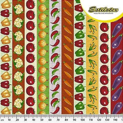 Tecido Tricoline Estampa de Barrado de Pimentão, Couve-flor, Tomate, Cebola, Pimenta, Cenoura, Milho e Berinjela - Preço de 50 cm X 150 cm