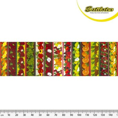 Tecido Tricoline Estampa de Barrado de Frutaria: Laranja, Cereja, Uva, Pêssego, Maçã, Caju, Pêra, Laranja, Abacaxi e Banana- Preço de 50 cm X 150 cm