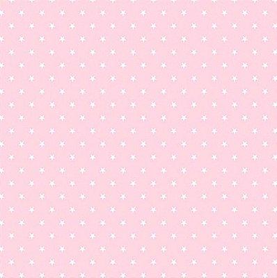 Tecido Tricoline  Estampa Mini Estrela Branca - Fundo Rosa Suave - Preço de 50 cm X 150 cm
