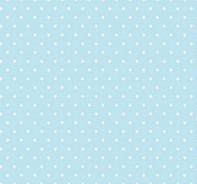 Tecido Tricoline  Estampa Mini Estrela Branca - Fundo Azul Bebê - Preço de 50 cm X 150 cm