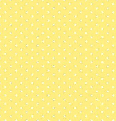 Tecido Tricoline  Estampa Mini Estrela Branca - Fundo Amarelo - Preço de 50 cm X 150 cm