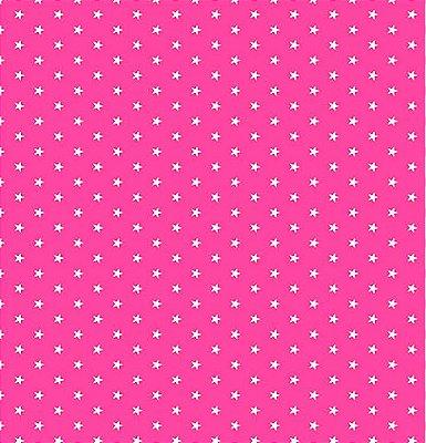 Tecido Tricoline  Estampa Mini Estrela Branca - Fundo Rosa Flamingo - Preço de 50 cm X 150 cm