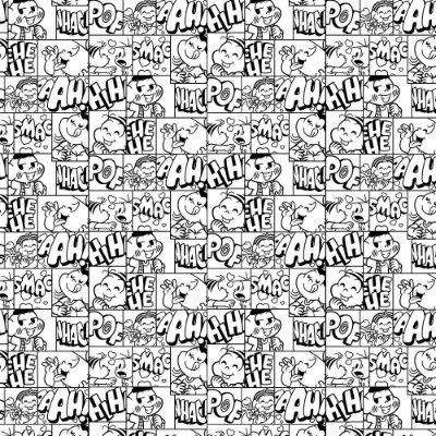 Tecido Tricoline Estampado Quadrinhos Preto e Branco - Coleção Turma da Mônica - Preço de 50 cm x 150 cm