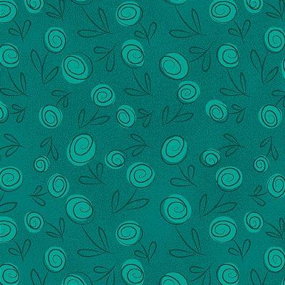 Tecido Tricoline Floral Doodle - Verde Caribe - Preço de 50cm x 150cm