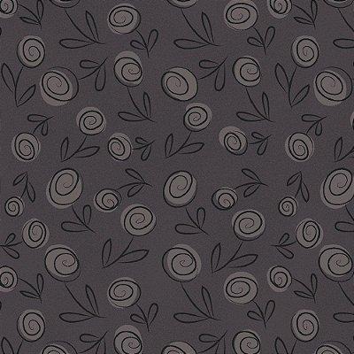 Tecido Tricoline Floral Doodle - Cinza Grafite - Preço de 50cm x 150cm