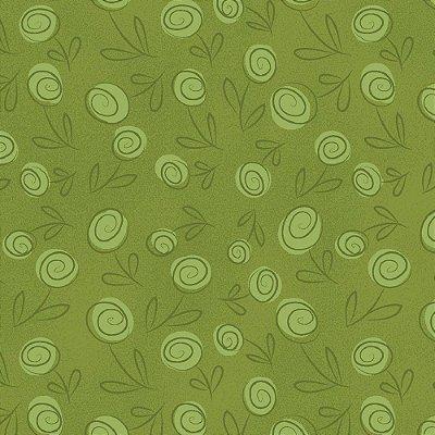 Tecido Tricoline Floral Doodle - Verde Grama - Preço de 50cm x 150cm