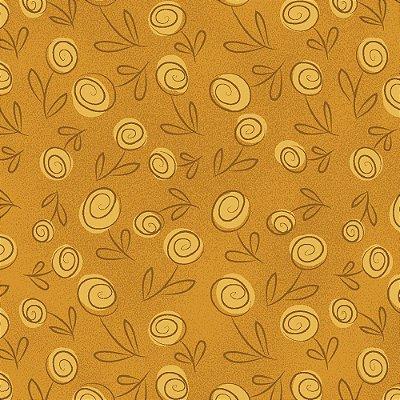 Tecido Tricoline Floral Doodle - Mostarda - Preço de 50cm x 150cm