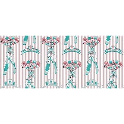 Tecido Tricoline Sapatilha de Bailarina Acqua- Fundo Listrado Rosa - Preço de 50cm x 150cm