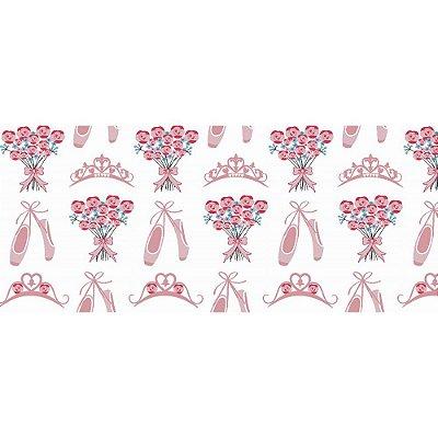 Tecido Tricoline Sapatilha de Bailarina Rosa - Preço de 50cm x 150cm