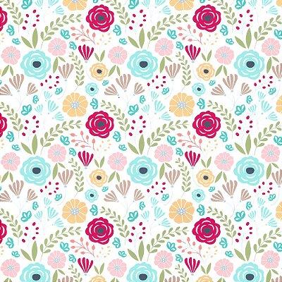 Tecido Tricoline - Floral Azul, Vermelho, Rosa e Amarelo - Coleção Sweet Garden - Preço de 50 cm x 150 cm