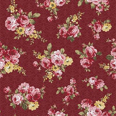 Tecido Tricoline Floral Arabesque - Fundo Vinho - Coleção Exuberance - Preço de 50 cm x 150 cm