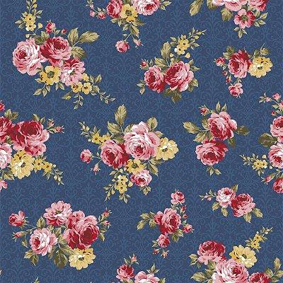 Tecido Tricoline Floral Arabesque - Fundo Azul Noite - Coleção Exuberance - Preço de 50 cm x 150 cm