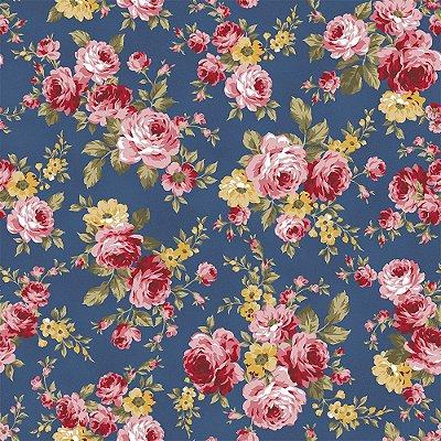 Tecido Tricoline Grand Floral - Fundo Azul Noite - Coleção Exuberance - Preço de 50 cm x 150 cm