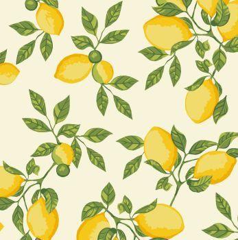 Tecido Tricoline - Coleção Limão Siciliano (Fundo Creme) - Preço de 50 cm x 150 cm
